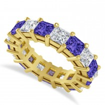Princess Cut Diamond & Tanzanite Eternity Wedding Band 14k Yellow Gold (7.17ct)