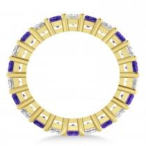 Princess Diamond & Tanzanite Wedding Band 14k Yellow Gold (7.17ct)