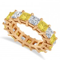Princess Cut Yellow Diamond Eternity Wedding Band 14k Rose Gold (6.63ct)