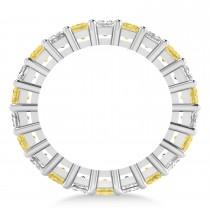 Princess Yellow & White Diamond Wedding Band 14k White Gold (6.63ct) escape