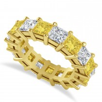 Princess Yellow & White Diamond Wedding Band 14k Yellow Gold (6.63ct)