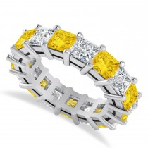 Princess Diamond & Yellow Sapphire Wedding Band 14k White Gold (7.17ct)