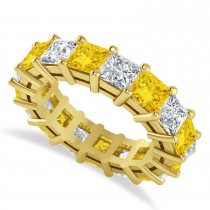 Princess Cut Diamond & Yellow Sapphire Eternity Wedding Band 14k Yellow Gold (7.17ct)
