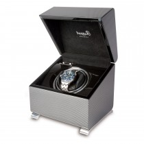 Rapport London Vogue Single Watch Winder Polished Carbon Fiber