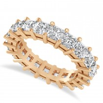 Princess Cut Diamond Eternity Wedding Band 14k Rose Gold (5.20ct)