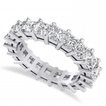 Princess Cut Diamond Eternity Wedding Band 14k White Gold (5.20ct)