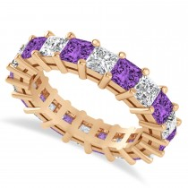 Princess Cut Diamond & Amethyst Eternity Wedding Band 14k Rose Gold (5.40ct)