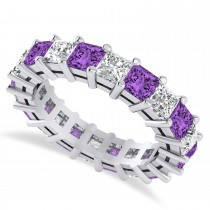 Princess Cut Diamond & Amethyst Eternity Wedding Band 14k White Gold (5.40ct)