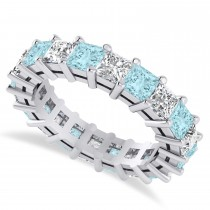 Princess Cut Diamond & Aquamarine Eternity Wedding Band 14k White Gold (5.40ct)