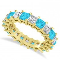 Princess Cut Blue Diamond Eternity Wedding Band 14k Yellow Gold (5.20ct)