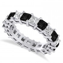 Princess Cut Black Diamond Eternity Wedding Band 14k White Gold (5.20ct)