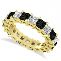 Princess Cut Black Diamond Eternity Wedding Band 14k Yellow Gold (5.20ct)
