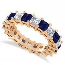 Princess Cut Diamond & Blue Sapphire Eternity Wedding Band 14k Rose Gold (5.40ct)