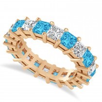 Princess Cut Diamond & Blue Topaz Eternity Wedding Band 14k Rose Gold (5.40ct)