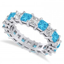 Princess Cut Diamond & Blue Topaz Eternity Wedding Band 14k White Gold (5.40ct)