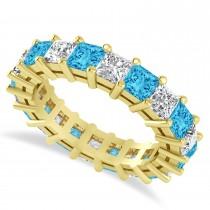 Princess Cut Diamond & Blue Topaz Eternity Wedding Band 14k Yellow Gold (5.40ct)