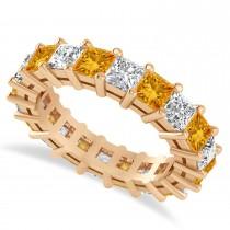 Princess Cut Diamond & Citrine Eternity Wedding Band 14k Rose Gold (5.40ct)