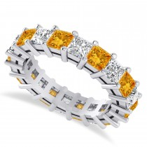 Princess Cut Diamond & Citrine Eternity Wedding Band 14k White Gold (5.40ct)