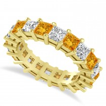 Princess Cut Diamond & Citrine Eternity Wedding Band 14k Yellow Gold (5.40ct)