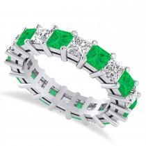 Princess Cut Diamond & Emerald Eternity Wedding Band 14k White Gold (5.40ct)