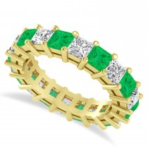 Princess Cut Diamond & Emerald Eternity Wedding Band 14k Yellow Gold (5.40ct)