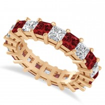 Princess Cut Diamond & Garnet Eternity Wedding Band 14k Rose Gold (5.40ct)