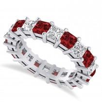 Princess Cut Diamond & Garnet Eternity Wedding Band 14k White Gold (5.40ct)