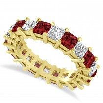 Princess Cut Diamond & Garnet Eternity Wedding Band 14k Yellow Gold (5.40ct)