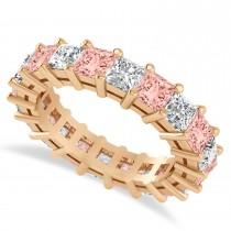 Princess Cut Diamond & Morganite Eternity Wedding Band 14k Rose Gold (5.40ct)