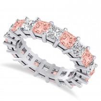 Princess Cut Diamond & Morganite Eternity Wedding Band 14k White Gold (5.40ct)