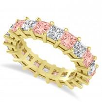 Princess Cut Diamond & Morganite Eternity Wedding Band 14k Yellow Gold (5.40ct)