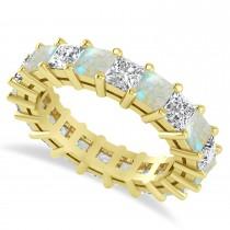Princess Cut Diamond & Opal Eternity Wedding Band 14k Yellow Gold (5.40ct)