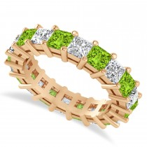 Princess Cut Diamond & Peridot Eternity Wedding Band 14k Rose Gold (5.40ct)
