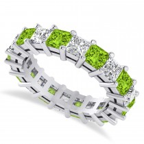 Princess Cut Diamond & Peridot Eternity Wedding Band 14k White Gold (5.40ct)