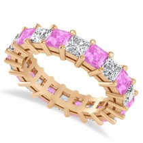 Princess Cut Diamond & Pink Sapphire Eternity Wedding Band 14k Rose Gold (5.40ct)