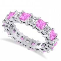Princess Cut Diamond & Pink Sapphire Eternity Wedding Band 14k White Gold (5.40ct)