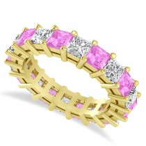 Princess Cut Diamond & Pink Sapphire Eternity Wedding Band 14k Yellow Gold (5.40ct)