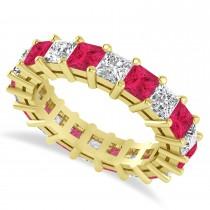 Princess Cut Diamond & Ruby Eternity Wedding Band 14k Yellow Gold (5.40ct)