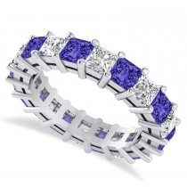 Princess Cut Diamond & Tanzanite Eternity Wedding Band 14k White Gold (5.40ct)