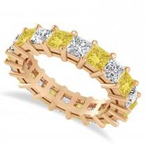 Princess Cut Yellow Diamond Eternity Wedding Band 14k Rose Gold (5.20ct)