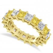 Princess Cut Yellow Diamond Eternity Wedding Band 14k Yellow Gold (5.20ct)