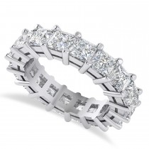 Princess Cut Diamond Eternity Wedding Band 14k White Gold (5.58ct)
