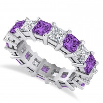 Princess Diamond & Amethyst Wedding Band 14k White Gold (5.94ct)