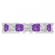Princess Diamond & Amethyst Wedding Band 14k White Gold (5.94ct)
