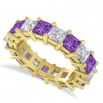 Princess Cut Diamond & Amethyst Eternity Wedding Band 14k Yellow Gold (5.94ct)