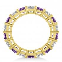 Princess Diamond & Amethyst Wedding Band 14k Yellow Gold (5.94ct)