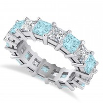 Princess Cut Diamond & Aquamarine Eternity Wedding Band 14k White Gold (5.94ct)