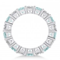 Princess Diamond & Aquamarine Wedding Band 14k White Gold (5.94ct)