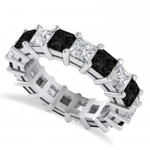 Princess Black & White Diamond Wedding Band 14k White Gold (5.58ct)