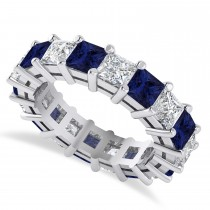 Princess Diamond & Blue Sapphire Wedding Band 14k White Gold (5.94ct)